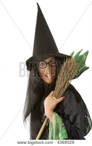 Ugly Witch With Broom
