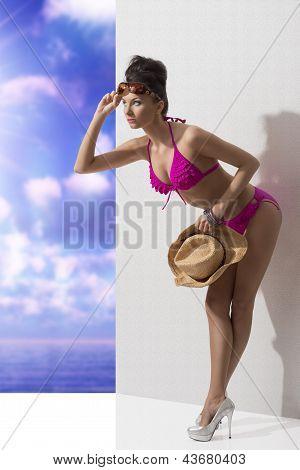 Pretty Brunette With Bikini Folded Forward