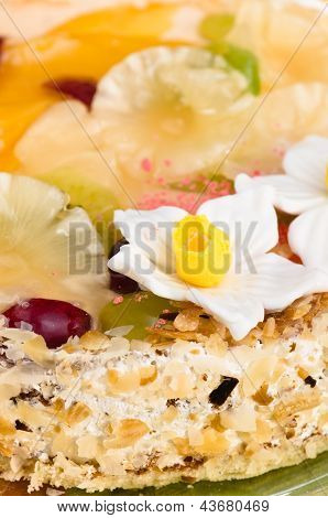 Beautiful Cake With Fruit, Close-up