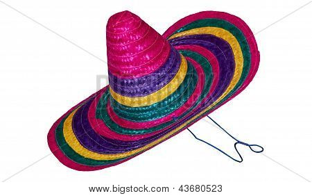 Mexican National Straw Hat Isolated On White