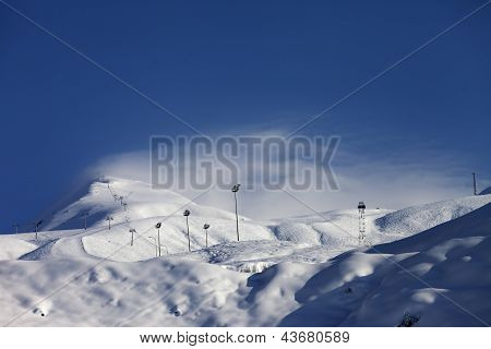 Ski Slope And Ropeways