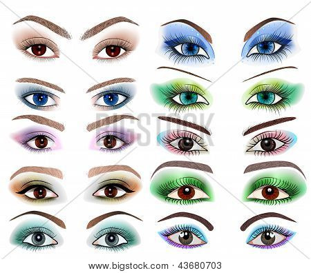 Set Of Women's Eyes With A Different Makeup