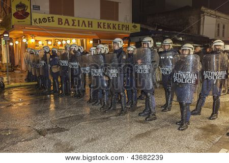 Greek Riot Police Block Access To Central Square