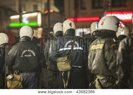 Greek Riot Police Block Access