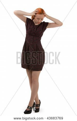 Stylish Young Woman Holding Her Head