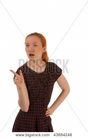Woman Thinking And Pointing