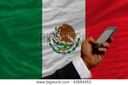 Cell Phone In Front  National Flag Of Mexico