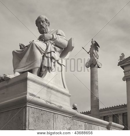 Plato the philosopher and Athena statues