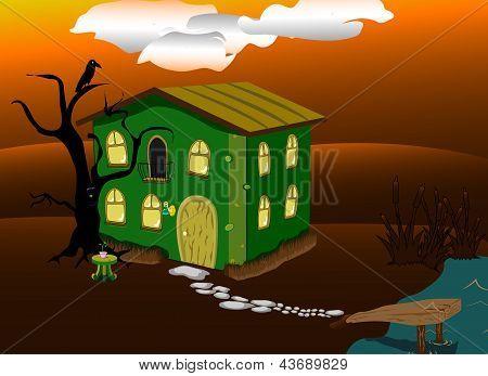 fantastic green lodge at night