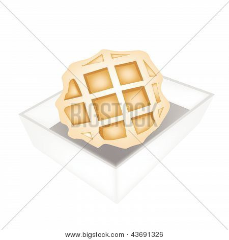Baked Round Waffles In White Paper Box