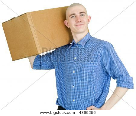 Courier With Cardboard Box