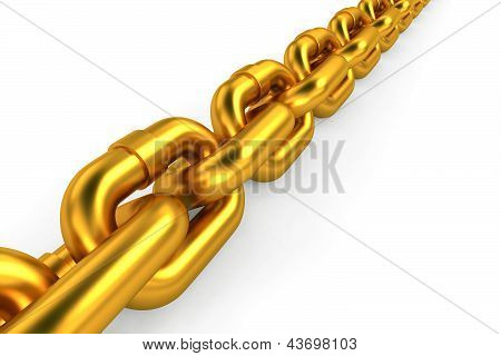 Gold chain on white background