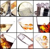 stock photo of whiskey  - collage with alcohol cocktails  - JPG