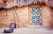 picture of mud-hut  - Exterior of a village hut in the Great Thar Desert India - JPG