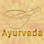 stock photo of ayurveda  - Image of Ayurveda and mortar with brown grunge and burst - JPG
