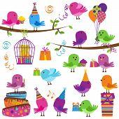 Постер, плакат: Векторный набор милые партия тематические птиц