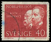 Sweden - Circa 1965: A Stamp Printed In Sweden Showing Nobel Awarded Scientists 1905 Years, Circa 19