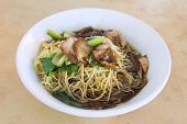 stock photo of wanton  - Penang Malaysia Wanton Mee Barbeque Pork Noodle Bowl - JPG