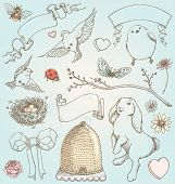 image of swallow  - Pretty hand drawn natural elements to embellish your layout - JPG