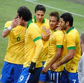 GENEVA, SWITZERLAND - MARCH 21, 2013: Brazilian soccer team celebrate goal during the friendly match