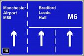 Where the left hand lane of a motorway leads to another motorway sign