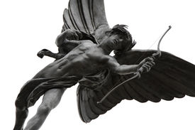 stock photo of ero  - This statue of a winged archer poised with his bow is known as The Statue of Eros the God of Love - JPG