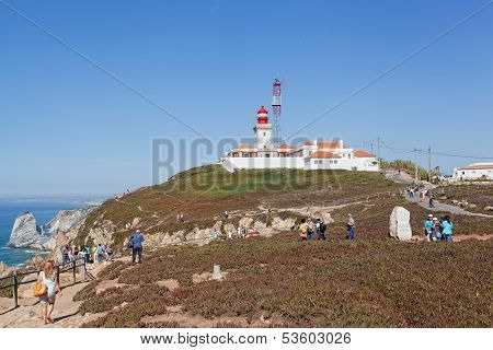 Tourists on Cabo da Roca Portugal