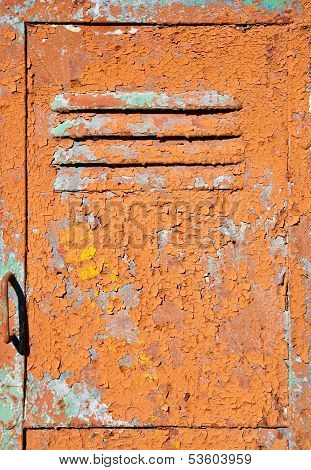 Old Metal Door Texture With Bright Cracked Painting