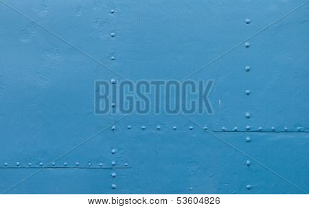 Abstract Detailed Blue Metal Wall Background Texture With Seams And Rivets