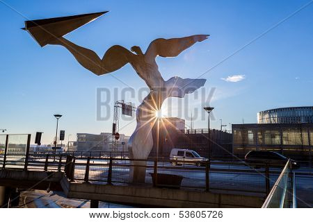 OSLO, NORWAY- JAN 2 : Architecture of Oslo Airport, Gardermoen on Jan 2, 2013. Oslo Airport acts as the main domestic hub and international airport for Norway.