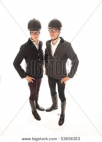 Two Handsome Young Men With Horses Outfit