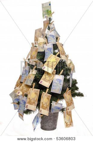 Christmas Tree With Euro Notes