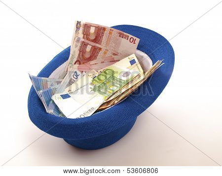 Euro Banknotes In A Hat