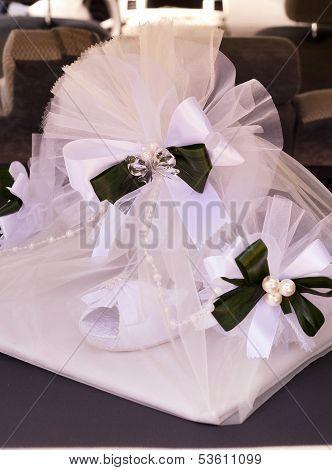 Weding decoration  of bridal shoes  on celebration place