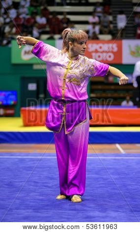 KUALA LUMPUR - NOV 03: Paula AS de Azevedo of Brazil shows her fighting style in the 'changquan compulsory' event at the 12th World Wushu Championship on November 03, 2013 in Kuala Lumpur, Malaysia.
