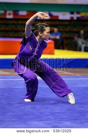 KUALA LUMPUR - NOV 03: Joanna Lim of Australia shows her fighting style in the 'changquan compulsory' event at the 12th World Wushu Championship on November 03, 2013 in Kuala Lumpur, Malaysia.