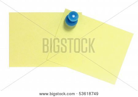 Double rectangular postit with blue pin