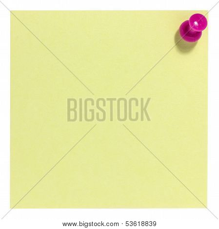 Square sticky note with pink pin