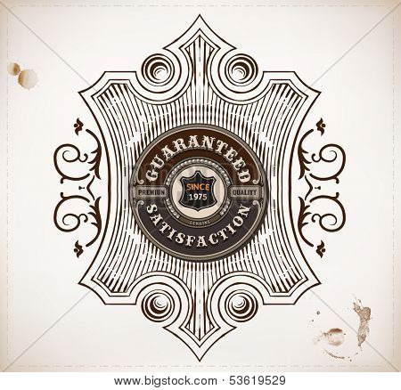 Premium Quality design. Baroque ornaments and floral details | Old paper texture background and heraldic shield.