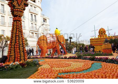 MENTON FRANCE - FEBRUARY 27: Lemon Festival (Fete du Citron) on the French Riviera.