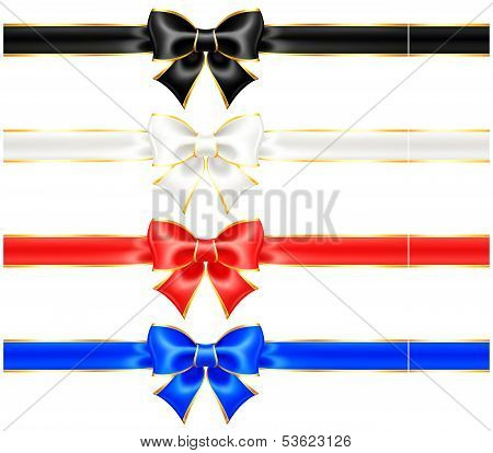 Black And White Holiday Bows With Gold Border And Ribbons