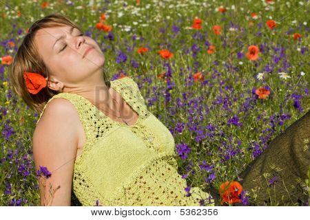 Woman Soaking Up The Sun