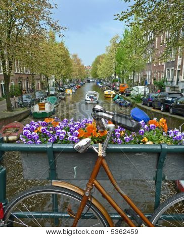 Bike On A Bridge In Amsterdam