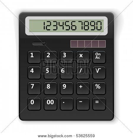 Top view black calculator vector template isolated on white background.