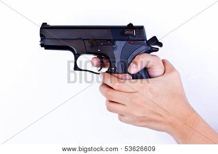 Gun in woman hand