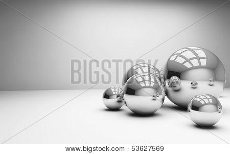 light interior room with mirror-balls.