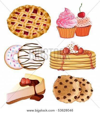 set of vector delicious desserts