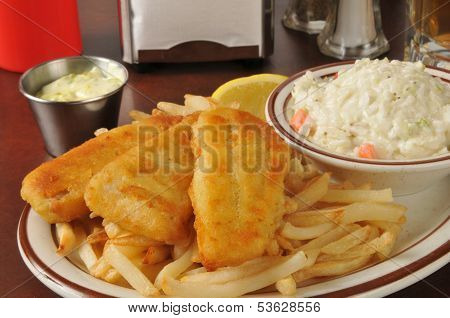 Fish And Chips With Coleslaw