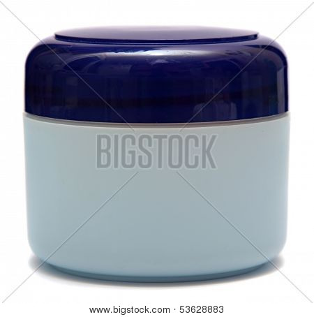 cosmetic creams isolated on white background. Closeup of jar of moisturizing face cream
