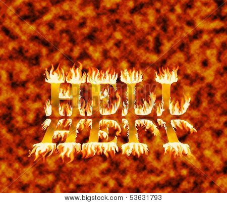 Word hell in flames, with reflection, on fiery red and orange background